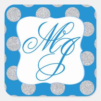 Silver Glitter Dots Royal Blue Monogram Label