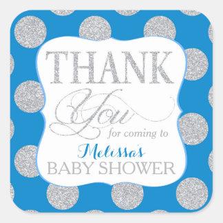 Silver Glitter Dots Royal Blue Thank You Label