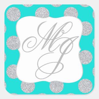 Silver Glitter Dots Turquoise Monogram Label
