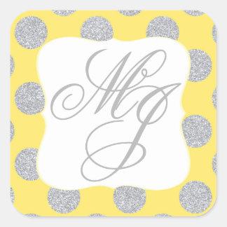 Silver Glitter Dots Yellow Monogram Label