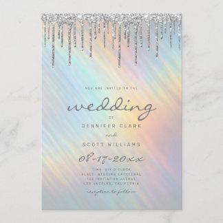 Silver Glitter Drips Rainbow Holographic Wedding Invitation