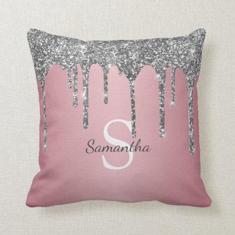 Silver Glitter Drips Rose Gold Pink Monogram Name Throw Pillow