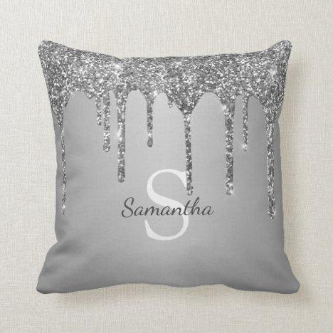 Silver Glitter Drips Sparkle Monogram Name Throw Pillow