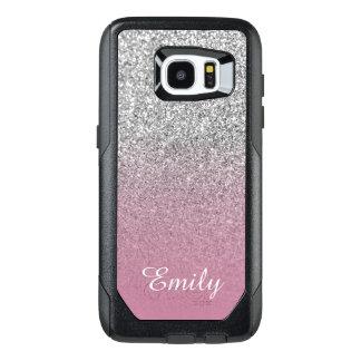 Silver Glitter Dusty Rose Ombre Personalized OtterBox Samsung Galaxy S7 Edge Case
