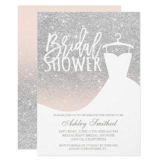 Silver glitter elegant blush dress Bridal shower Invitation