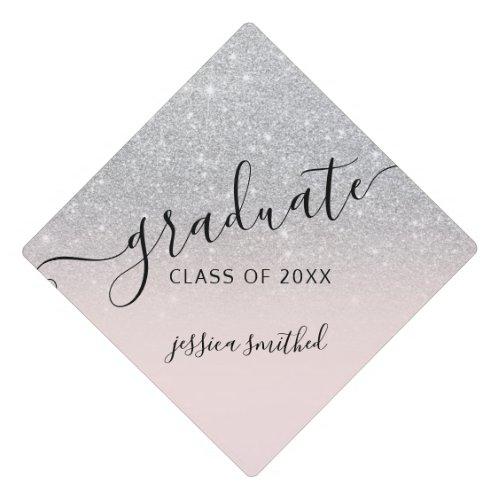 Silver glitter elegant chic typography graduate graduation cap topper
