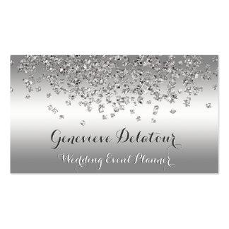 Silver Glitter Elegant Platinum  Event Planner Business Card