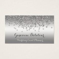 Silver Glitter Elegant Platinum  Event Planner Business Card at Zazzle