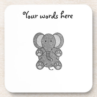 Silver glitter elephant beverage coasters