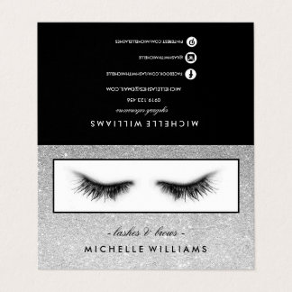 Silver Glitter Eyelashes AfterCare Referral Business Card