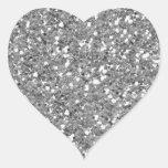 Silver Glitter (Faux) Heart Sticker