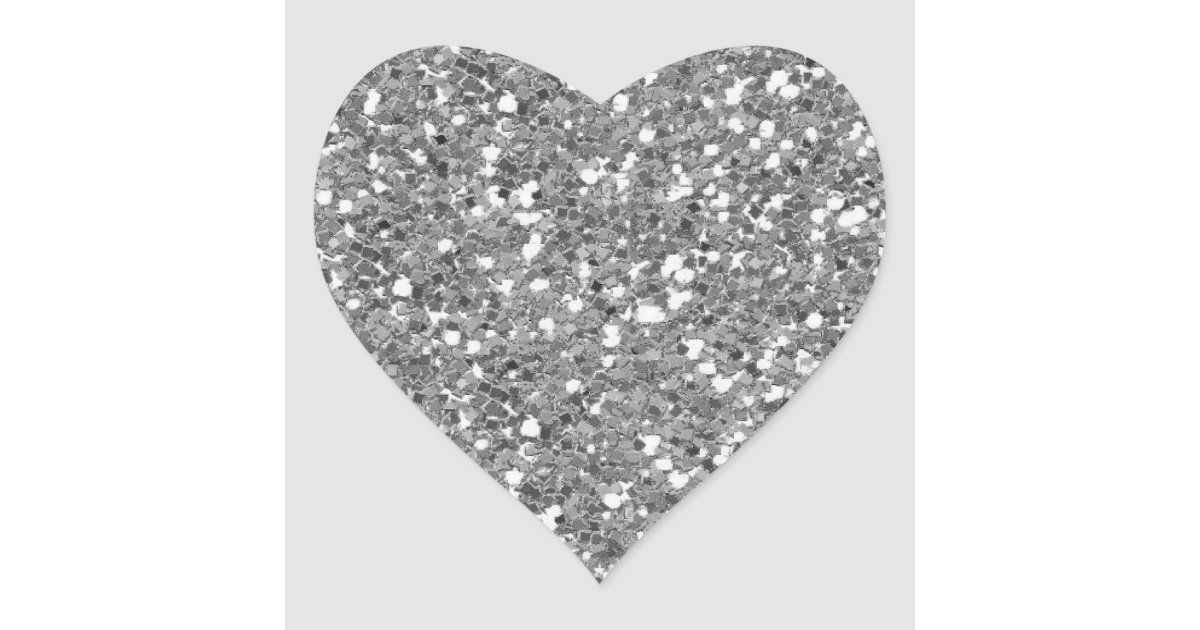 Silver Glitter (Faux) Heart Sticker | Zazzle