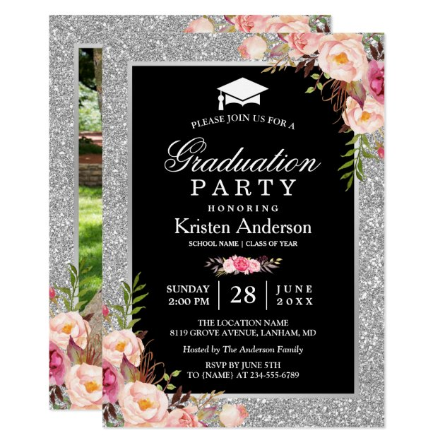 Silver Glitter Floral 2017 Photo Graduation Party Card