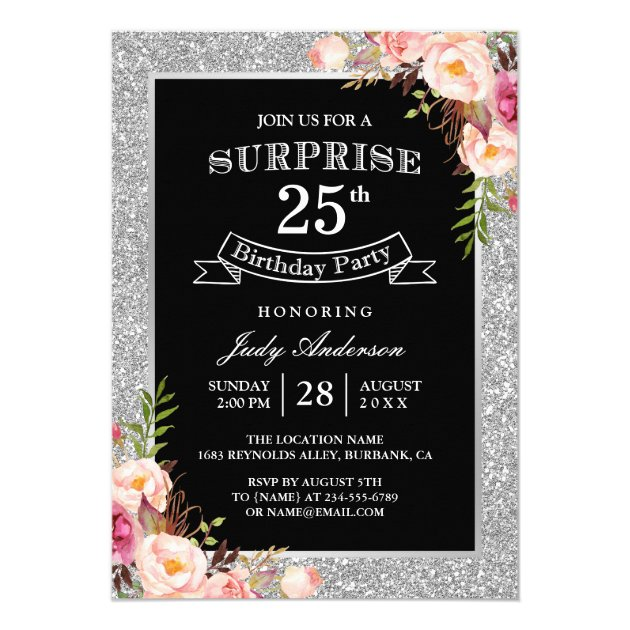 Personalized Th Birthday Invitations CustomInvitationsUcom - 25th birthday invitation templates
