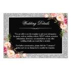 Silver Glitter Floral Wedding Details Reception Card