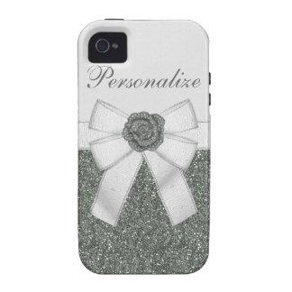 Silver Glitter & Flower iPhone 4/4S Case