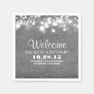 silver glitter foil string lights wedding paper napkins