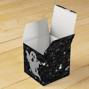 Halloween Themed Silver Glitter Ghost Black Faux Glitter Favor Box