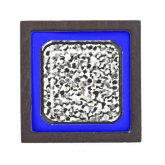 Silver Glitter Gift Box (deep blue border) Premium Trinket Boxes