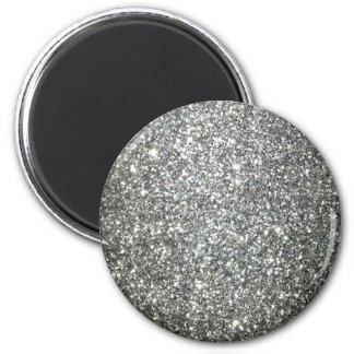 Silver Glitter Glamour 2 Inch Round Magnet
