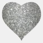 Silver Glitter Glamour Heart Sticker