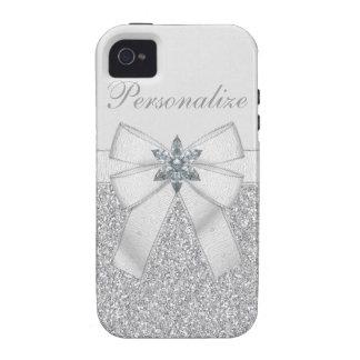 Silver Glitter & Glass Flower iPhone 4/4S Case