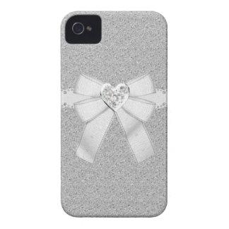 Silver Glitter & Heart Jewel iPhone 4/4S Case iPhone 4 Case-Mate Case