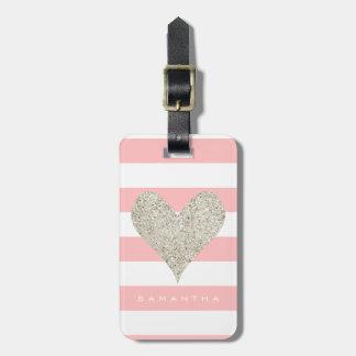 Silver Glitter Heart Luggage Tag
