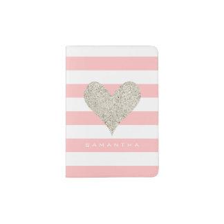 Silver Glitter Heart Passport Holder
