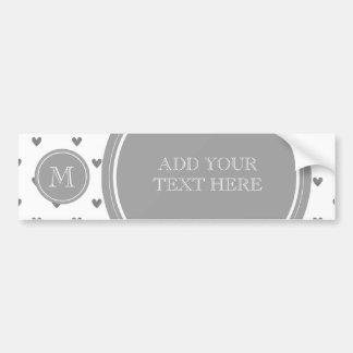 Silver Glitter Hearts with Monogram Bumper Sticker