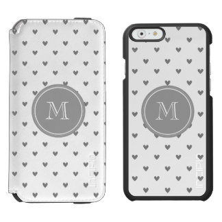 Silver Glitter Hearts with Monogram iPhone 6/6s Wallet Case
