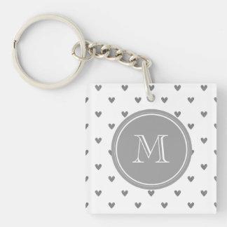 Silver Glitter Hearts with Monogram Keychain