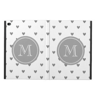 Silver Glitter Hearts with Monogram Powis iPad Air 2 Case