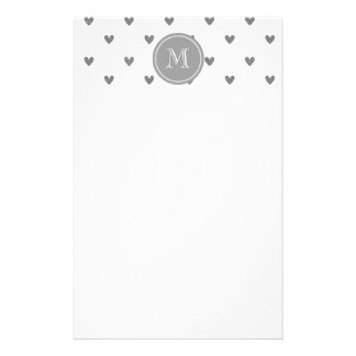 Silver Glitter Hearts with Monogram Stationery Design