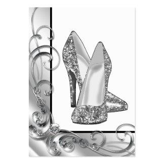 Silver Glitter High Heel Shoe Business Cards