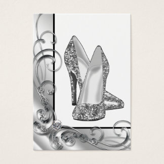 Silver Glitter High Heel Shoe Business Card