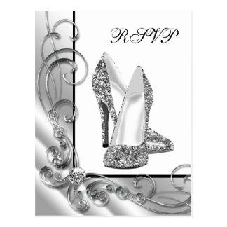 Silver Glitter High Heel Shoe RSVP Postcard