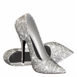 "Silver Glitter High Heel Shoes Statuette<br><div class=""desc"">Elegant glitter high heel shoe photo sculpture. You can choose your size, quantity and product type by choosing the customize it button to begin. Please note - all of the designs you will find on Zazzle are printed graphics with no actual glitter, jewels, bows, raised, embossed, or added parts or...</div>"