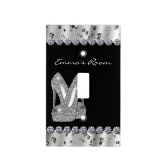 Silver Glitter High Heels Shoes Light Switch Cover