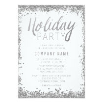 Silver Glitter Holiday Party Invitations