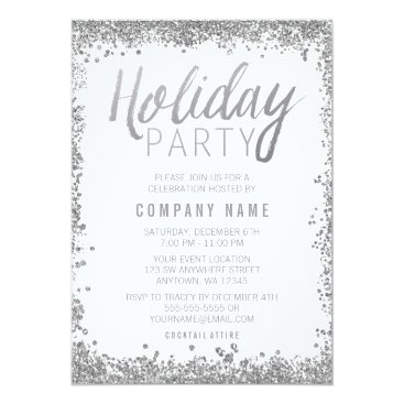 Professional Business Silver Glitter Holiday Party Invitations