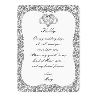 Silver Glitter Infinity Heart Maid Of Honor Card