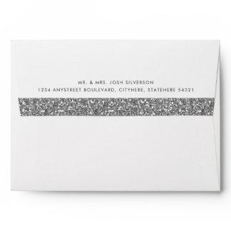 Silver Glitter Inside Return Address Mailing Envelope