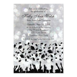 Silver Glitter Lights Graduation Party Invitation