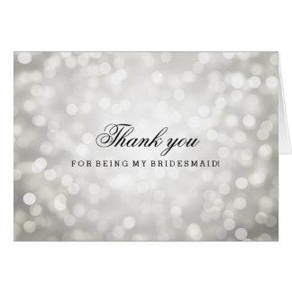 Silver Glitter Lights Thank You Bridesmaid Card