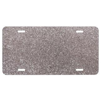 Silver glitter license plate