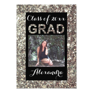 Silver Glitter-Look 1 Photo Graduation Card