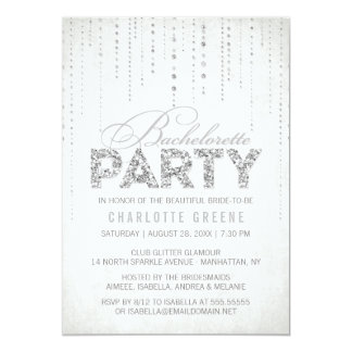 Silver Glitter Look Bachelorette Party Invitation
