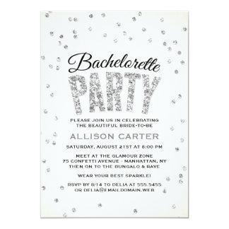 Silver Glitter Look Confetti Bachelorette Party Card
