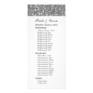 Silver Glitter Look (Faux) Large Wedding Party Rack Card